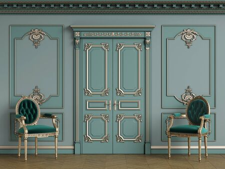 Classic carver chairs in gold andemerald green in classic interior with copy space.Pastel green walls with ornated mouldings and classic cornice.Classic door.Floor parquet.Digital Illustration.3d rendering
