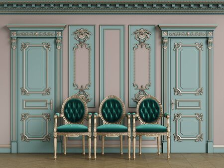 Classic carver chairs in gold andemerald green in classic interior with copy space.Pastel green walls with ornated mouldings and classic cornice.Classic door.Floor parquet.Digital Illustration.3d rend