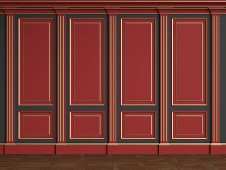 Classic interior walls with copy space.Red walls with silvered mouldings and pillasters.Floor parquet.Digital Illustration.3d rendering