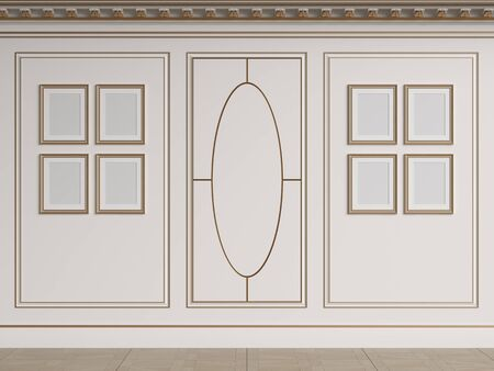 Classic interior walls with copy space.White walls with decorative ellipse in moulding. Ornated cornice.Empty picture frames on the wall.Floor parquet.Digital Illustration.3d rendering