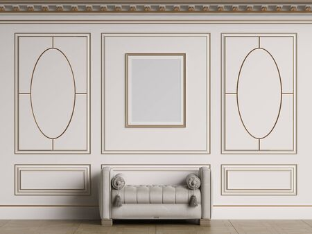 Classic interior walls with copy space.White walls with decorative ellipses in mouldings. Ornated cornice.Classic bench ottoman. Empty picture frame on the wall.Floor parquet.Digital Illustration.3d r