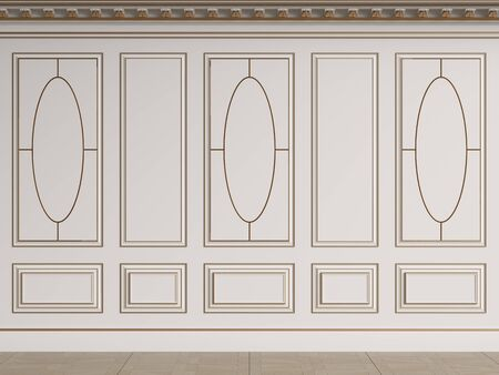 Classic interior walls with copy space.White walls with decorative ellipses in mouldings. Ornated cornice.Floor parquet.Digital Illustration.3d rendering