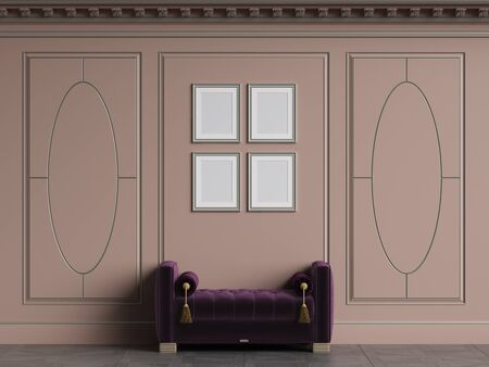 Classic interior walls with copy space.Pink walls with decorative ellipses in mouldings. Ornated cornice.Classic bench ottoman. Empty picture frames on the wall.Digital Illustration.3d rendering 写真素材