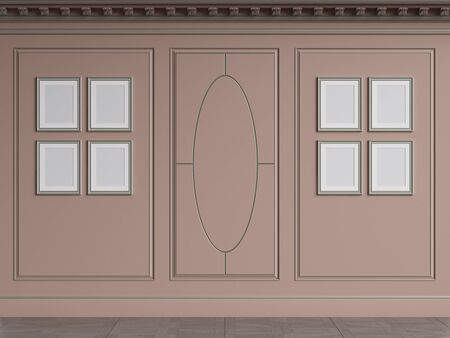 Classic interior walls with copy space.Pink walls with decorative ellipses in mouldings. Ornated cornice. Empty picture frames on the wall.Digital Illustration.3d rendering 写真素材