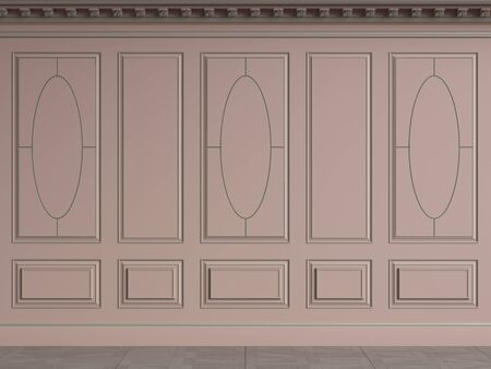 Classic interior walls with copy space.Pink walls with decorative ellipses in mouldings. Ornated cornice.Digital Illustration.3d rendering