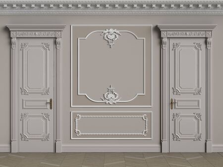 Classic interior walls with copy space.Pastel brown colors walls with ornated mouldings and classic cornice.Classic door.Floor parquet.Digital Illustration.3d rendering