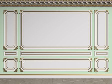 Classic interior wall with gilded mouldings.Ornated cornice.Floor parquet herringbone.Digital illustration.3d rendering