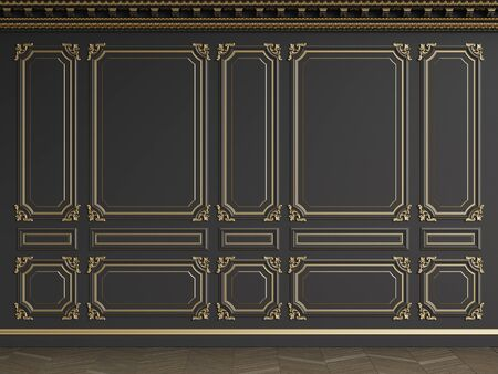 Classic interior black wall with gilded mouldings.Ornated cornice.Floor parquet herringbone.Digital illustration.3d rendering