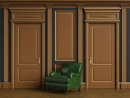 Classic green armcahir in classic interior with copy space.Classic wooden boiserie with gilded mouldings.Classic door.Floor parquet.Digital Illustration.3d rendering
