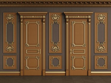 Classic interior wall with copy space.Classic wooden boiserie with gilded mouldings.Ornated cornice.Classic door.Floor parquet.Digital Illustration.3d rendering