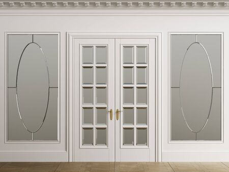 Classic interior walls with copy space.White walls with mirror in frames. Ornated cornice.Classic door. Floor parquet.Digital Illustration.3d rendering