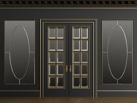 Classic interior walls with copy space.Black walls with mirror in golden frames. Ornated cornice.Classic door. Floor parquet.Digital Illustration.3d rendering
