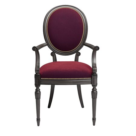 Classic chair in burgundy color velvet with carved details isolated on white background.Digital illustration.3d rendering 写真素材