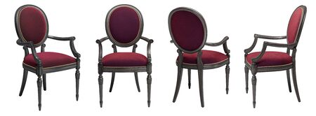 Classic chair in burgundy color velvet with carved details isolated on white background.4 different views.Digital illustration.3d rendering 写真素材