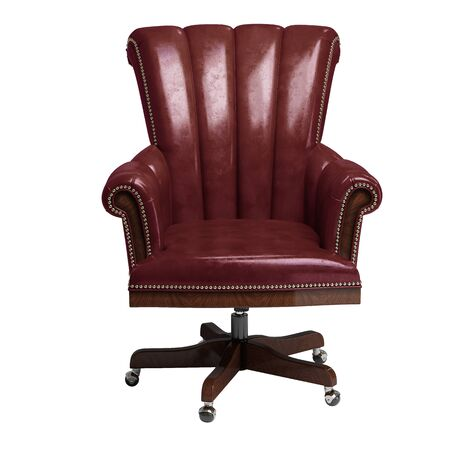 Classic desk chair in red vintage leather isolated on white background.Digital illustration.3d rendering