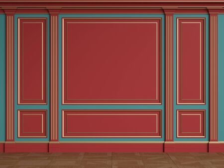 Classic interior walls with copy space.Red walls with gilded mouldings and pillasters.Floor parquet.Digital Illustration.3d rendering 写真素材