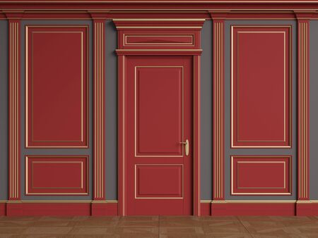 Classic interior walls with copy space.Red walls with gilded mouldings and pillasters.Classic door.Floor parquet.Digital Illustration.3d rendering 写真素材