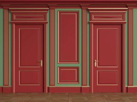 Classic interior walls with copy space.Red walls with gilded mouldings and pillasters.Classic door.Floor parquet.Digital Illustration.3d rendering Reklamní fotografie