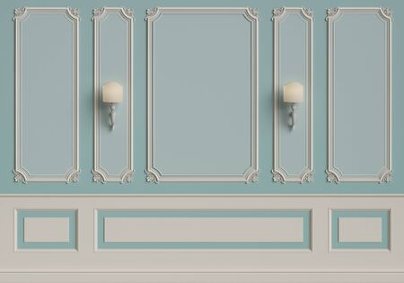 Classic interior wall with mouldings.Digital illustration.3d rendering