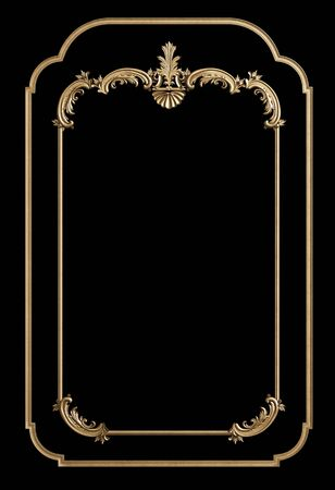 Classic moulding golden frame with ornament decor isolated on black background. Digital illustration. 3d rendering