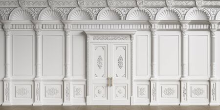 Classic interior walls with copy space.White walls with ornated mouldings and classic cornice.Classic door.Floor parquet.Digital Illustration.3d rendering