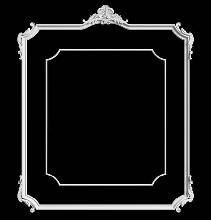 Classic moulding white frame with ornament decor isolated on black background. Digital illustration. 3d rendering