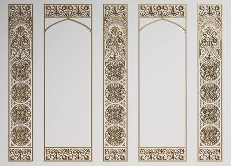 Classic wall with mouldings in oriental style.Digital illustration.3d rendering Foto de archivo