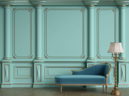 Classic chaise longue in classic interior with copy space.Walls with ornated mouldings.Floor parquet.Digital Illustration.3d rendering