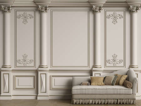 Classic furniture in classic interior with copy space.Walls with ornated moldings.Floor parquet.Digital Illustration.3d rendering