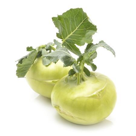 Fresh kohlrabi with green leaves Zdjęcie Seryjne