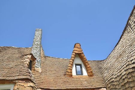 Beautiful and traditional architecture of the clay castle of Porumbacu village