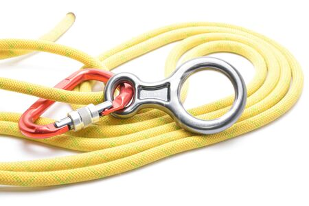 rapelling: Carabinner rope and figure eight isolated on white