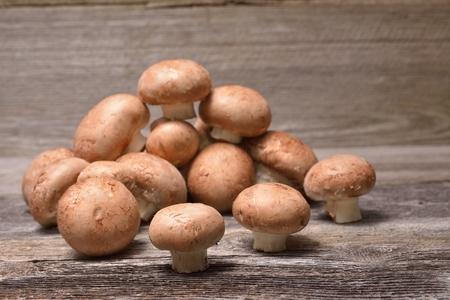 agaricus: Fresh whole brown button mushrooms Stock Photo