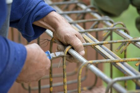 concreting: Tying reinforcement preparation for concreting