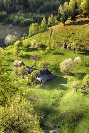 snowy field: Spring alpine landscape with green fields, Magura village, Transylvania, Romania Stock Photo