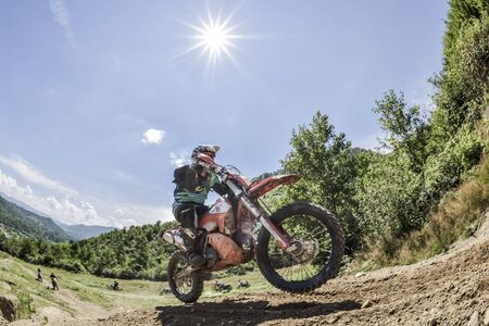 SIBIU, ROMANIA - JULY 25: Red Bull ROMANIACS Hard Enduro Rally . The hardest enduro rally in the world. July 25-29, 2017 in Sibiu, Romania. Stones and forest