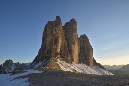 The Tre Cime di Lavaredo (Italian for three peaks of Lavaredo ) Stock Photo