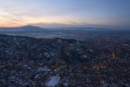 Night in Brasov, Romania Brasov is a city in the Transylvania region of Romania