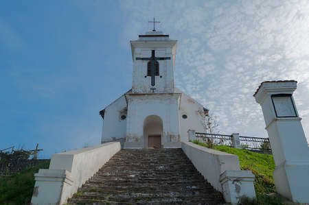 local landmark: St. Cross Chapel Kapela Sv. Krsta. Old catholic church build between 1720 - 1728. Local landmark Stock Photo