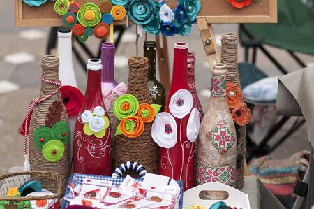 Wrapped glass bottles. Celebration of Martisor the celebration at the beginning of spring