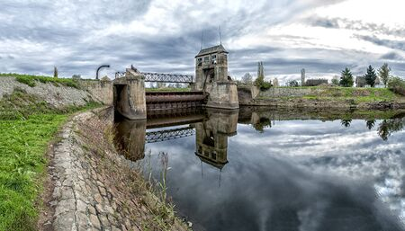 navigable: Abandoned old sluice gate. Navigable river. Water gate Stock Photo