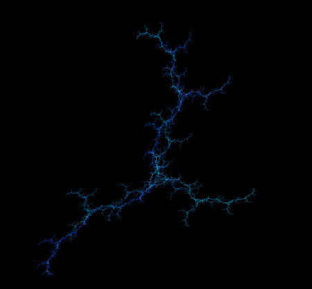 Abstract lightning design. Isolated on black background. Stock Photo