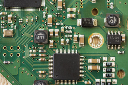 Close-up of a microprocessor. Circuit with electronic components Stock Photo - 123945100