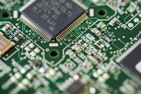 Close-up of a microprocessor. Circuit with electronic components