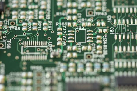 Close-up of a motherboard. Circuit with electronic components