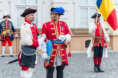 Timisoara, Romania - September 15, 2018: Parade of changing the guard. Period costumes. Editorial