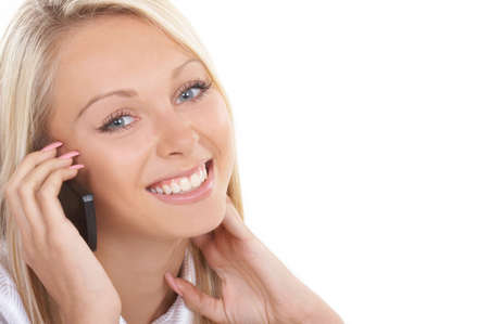 The girl the operator in headphones with a microphone Stock Photo - 670249