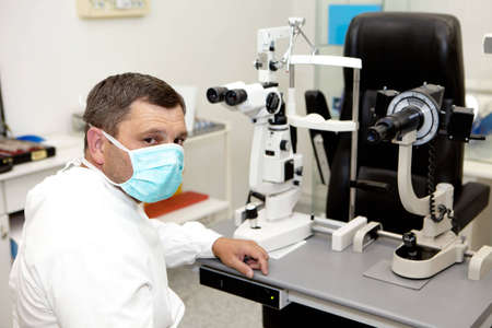 diopter: Doctor in ophthalmology clinic