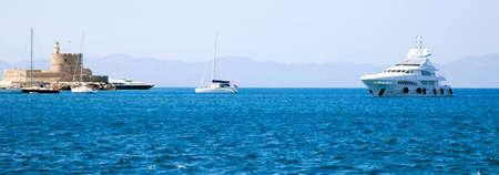 rhodes: Ships in bay Greece, Rhodes Stock Photo