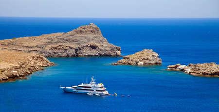 lindos: Lindos Bay.Rhodes island, Greece Stock Photo